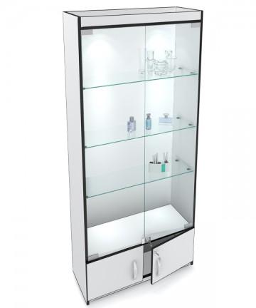 Классическая стеклянная витрина с накопителем, стенка ДВПО.