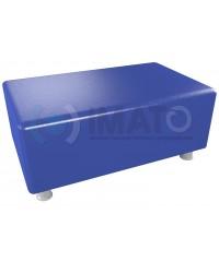 Пф-102 Банкетка-пуфик прямоугольник синий хром
