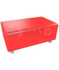 Пф-102 Банкетка-пуфик прямоугольник красный хром