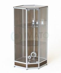 ВА-203-Д Витрина из алюминиевого профиля угловая на подиуме для ВА-200-Д,201-Д, цвет шимо