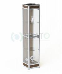 ВА-400-Д Витрина выставочная алюминиевая с цоколем и задней стенкой ДСП, цвет шимо