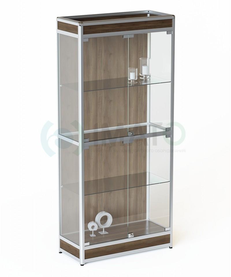 ВА-401-Д Витрина выставочная алюминиевая широкая с цоколем и задней стенкой ДСП, цвет шимо