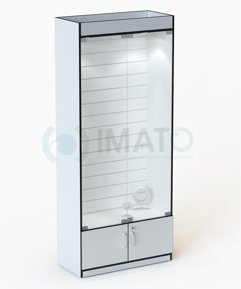 В-106-Э Стеклянная витрина с подсветкой и стенкой из экономпанели