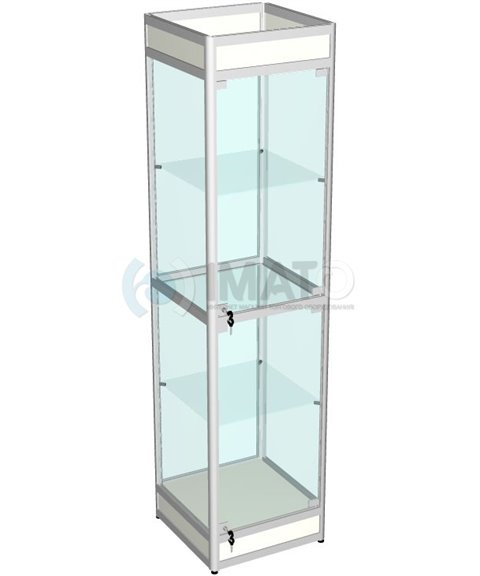 Витрина выставочная алюминиевая с цоколем 50-50-200
