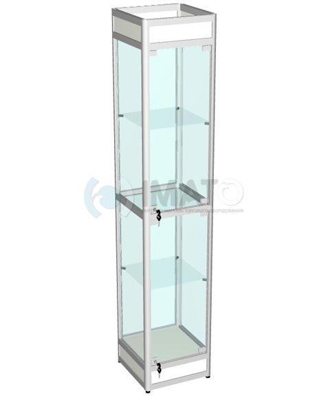 Витрина выставочная алюминиевая с цоколем и подложкой 40-40-200