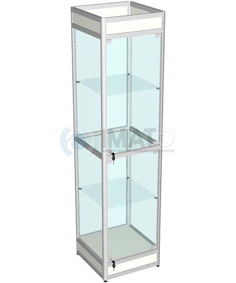 Витрина выставочная алюминиевая с цоколем и подложкой 50-50-200