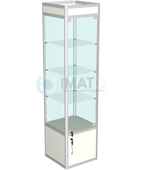Витрина выставочная алюминиевая с тумбой и подложкой 50-50-200