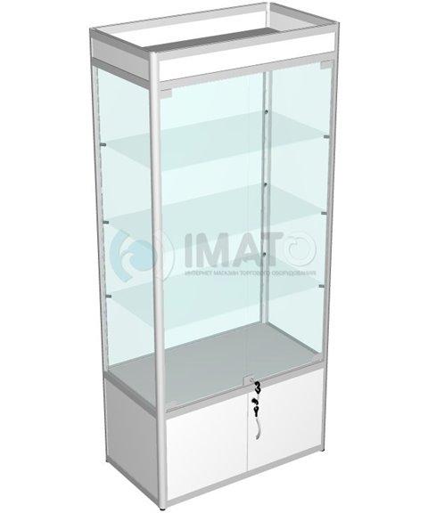 Витрина выставочная алюминиевая с тумбой широкая прозрачная 50-90-200