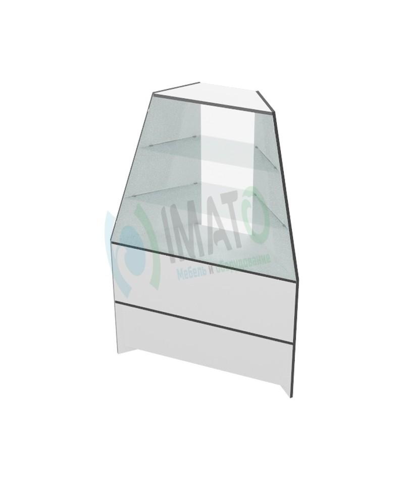Витрина высокая В-46 угловая торговая с наклонным стеклом к В-40, В-40-60