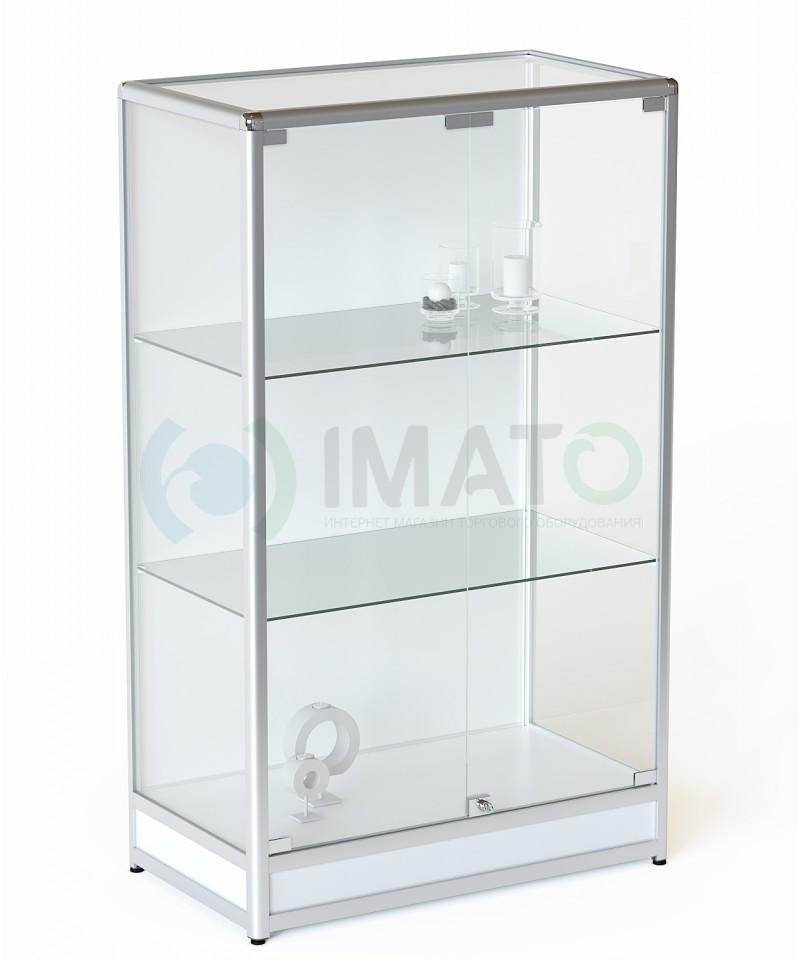 ВА-301-Д Витрина из алюминиевого профиля на подиуме и стенкой ДСП, цвет белый