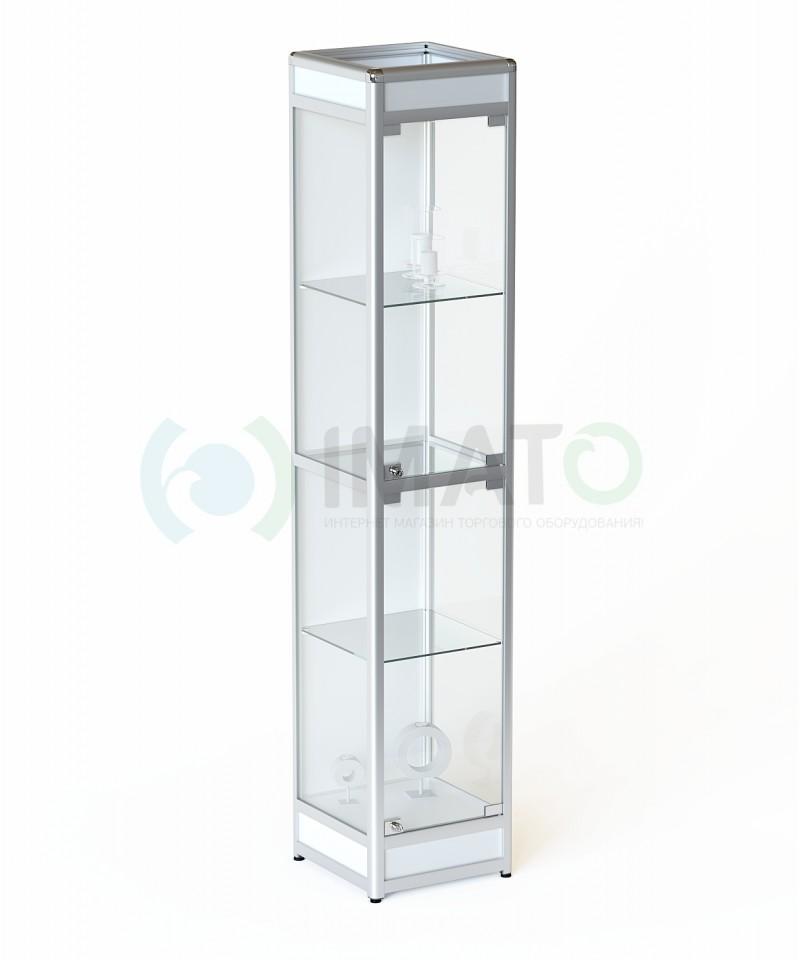 ВА-400-Д Витрина выставочная алюминиевая с цоколем и задней стенкой ДСП, цвет белый