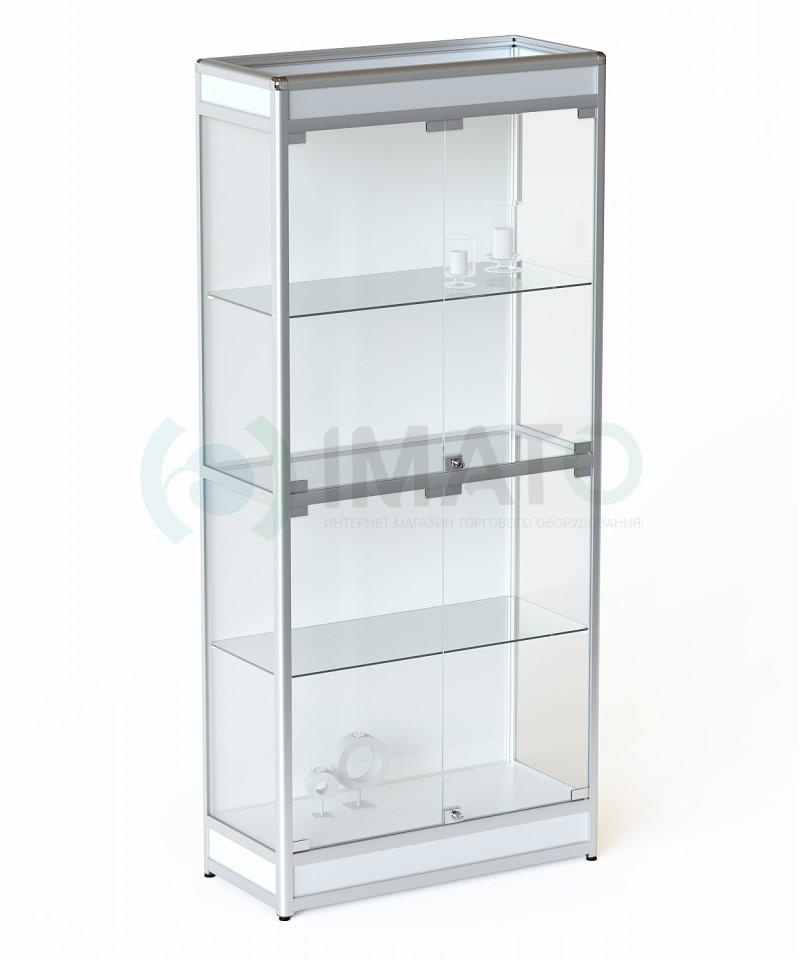 ВА-401-Д Витрина выставочная алюминиевая широкая с цоколем и задней стенкой ДСП, цвет белый