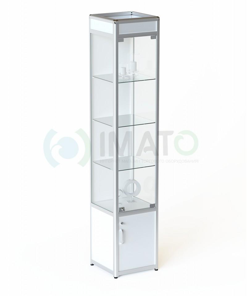 """Витрина """"ВА-430-Д"""" из алюминиевого профиля задняя стенка ДСП, цвет белый"""