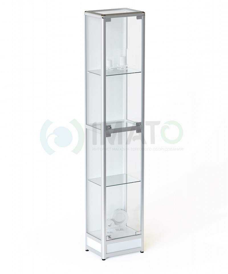 ВА-640-Д Витрина  с подиумом из профиля с задней стенкой ДСП, цвет белый