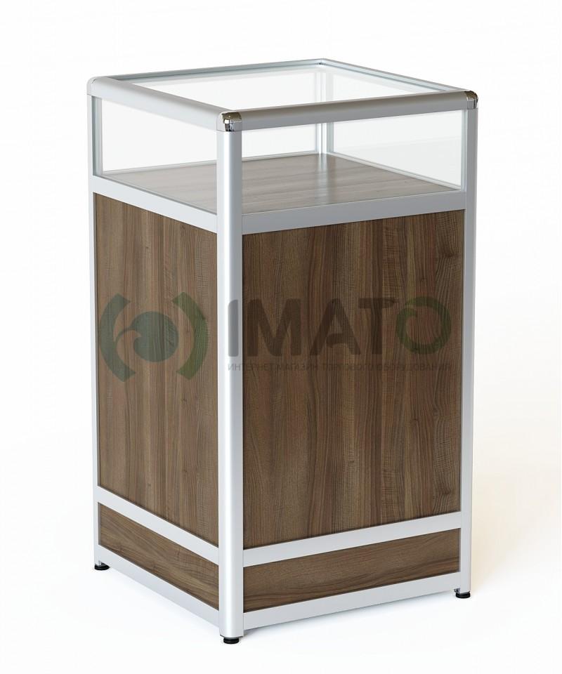 ПР-31-50А Прилавок торговый из алюминиевого профиля со стеклом, цвет шимо