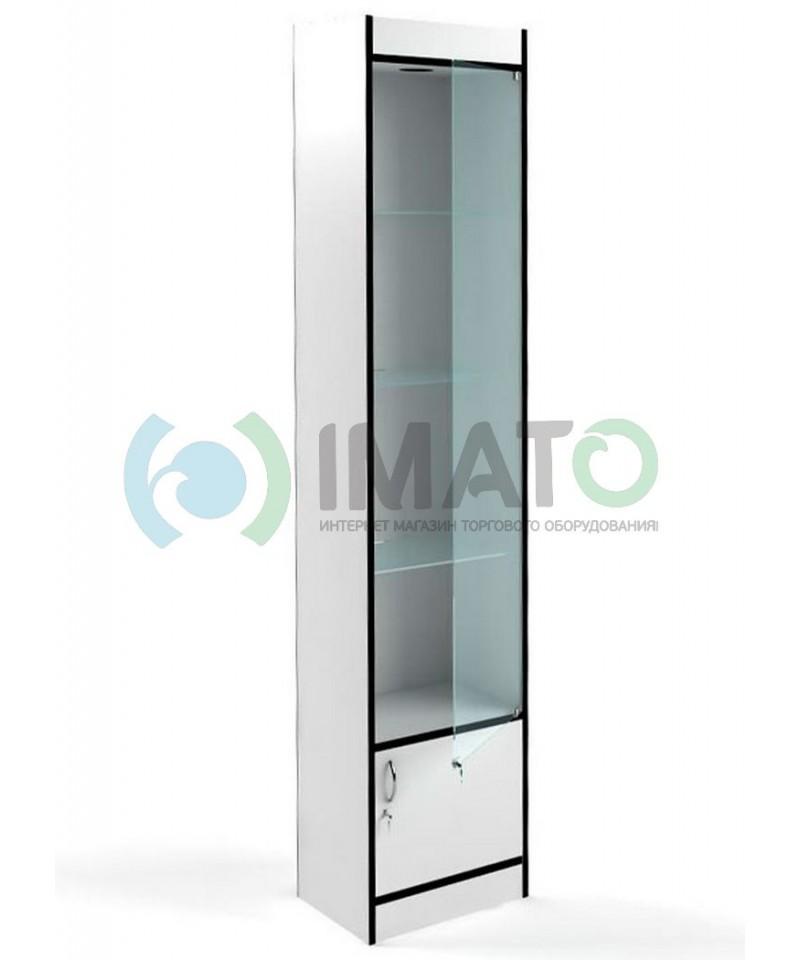 В-64-45-Д Стеклянная узкая витрина с накопителем и стенкой ДВПО