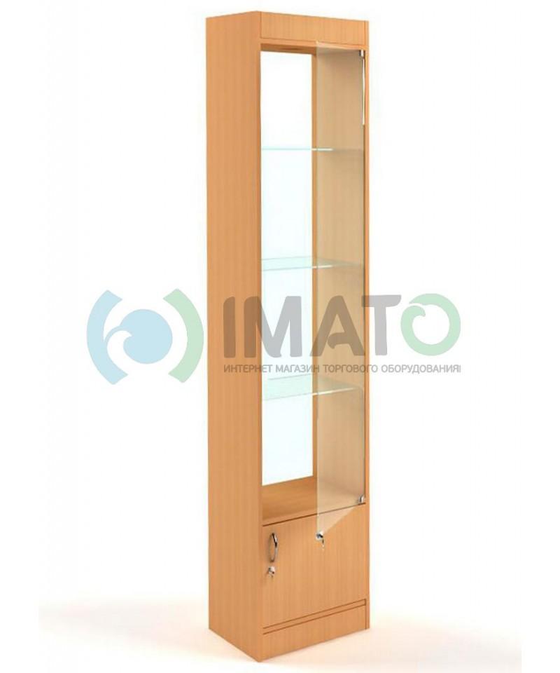 В-64-45-С Витрина узкая стеклянная, с накопителем, задняя стенка стекло