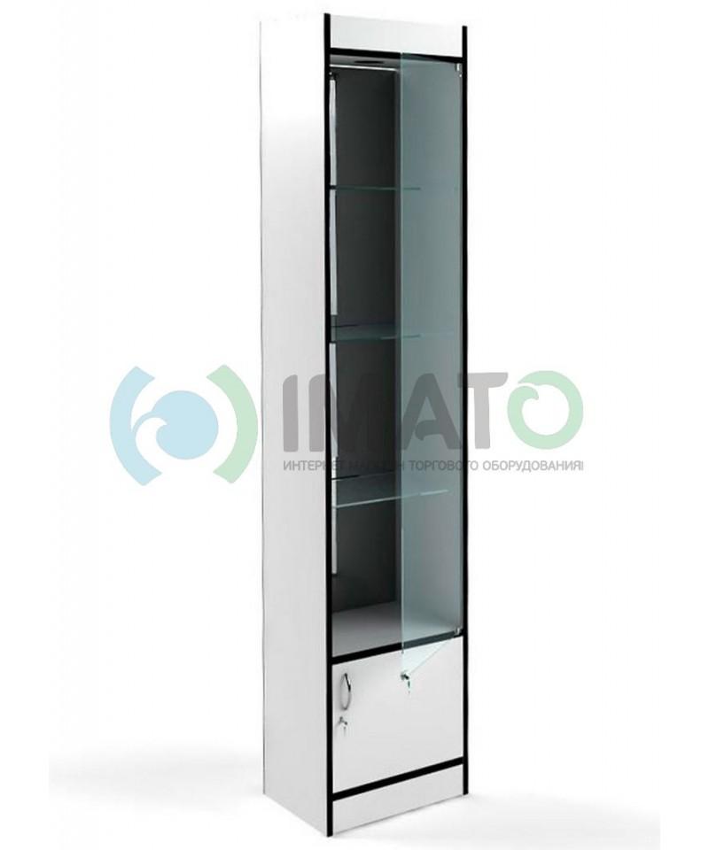 В-64-45-З Узкая стеклянная витрина, с накопителем, задняя стенка зеркало