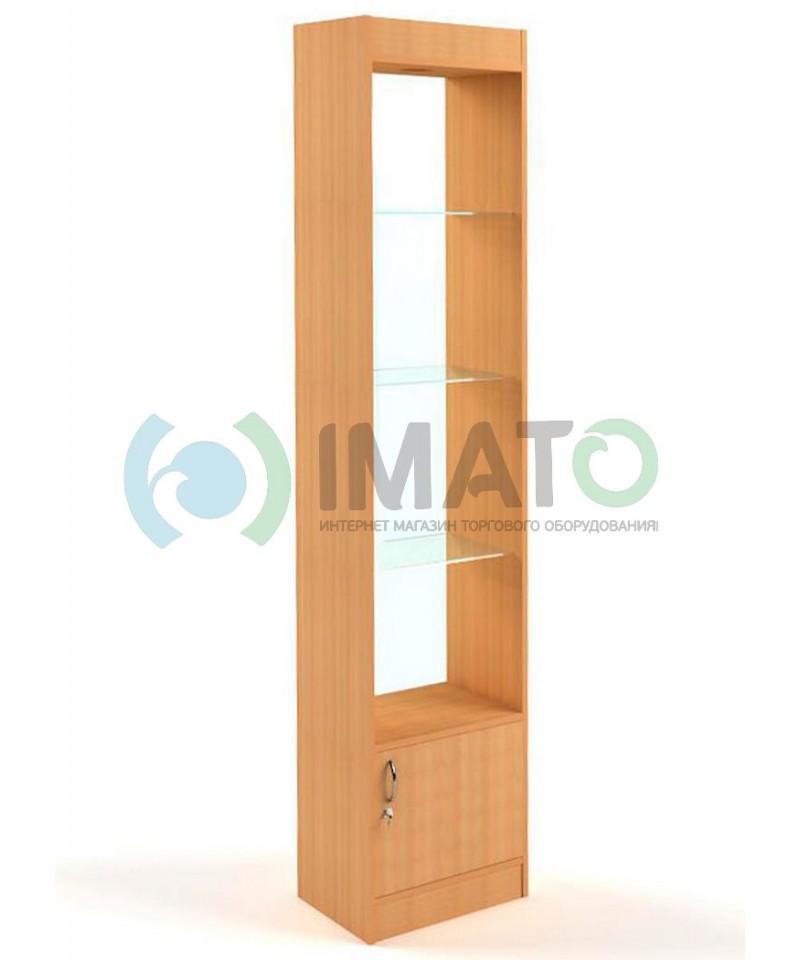 В-62-45-C Витрина узкая открытая, с накопителем, дверьми ДСП, задняя стенка стекло