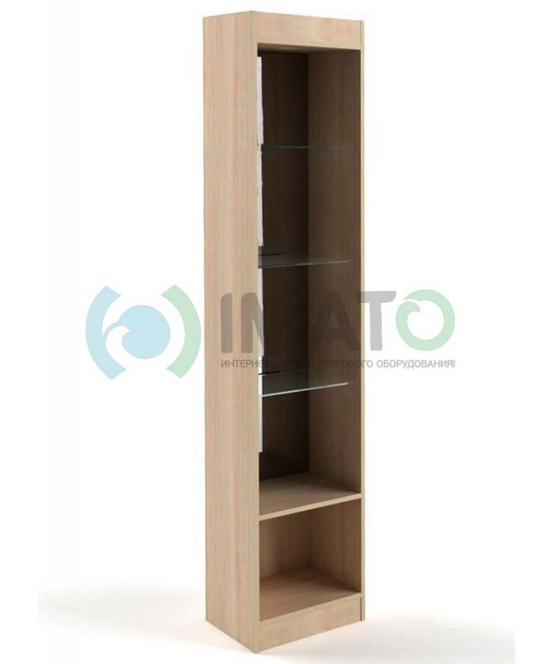 В-6-45-З Витрина узкая открытая, с накопителем, без дверей, задняя стенка зеркало
