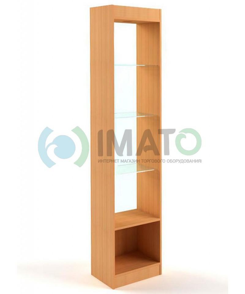 В-6-45-С Витрина узкая открытая, с накопителем, без дверей, задняя стенка стекло