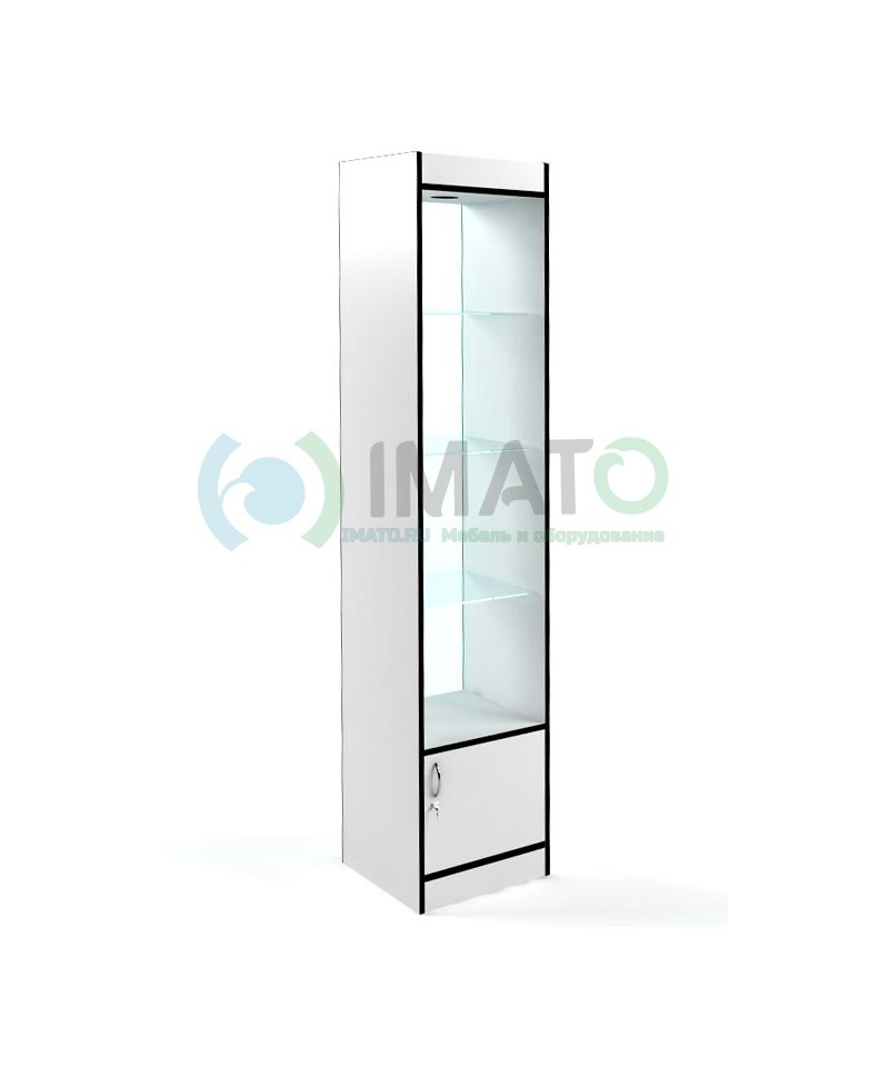 В-162-45-C Витрина узкая открытая, с накопителем, дверьми ДСП, задняя стенка стекло