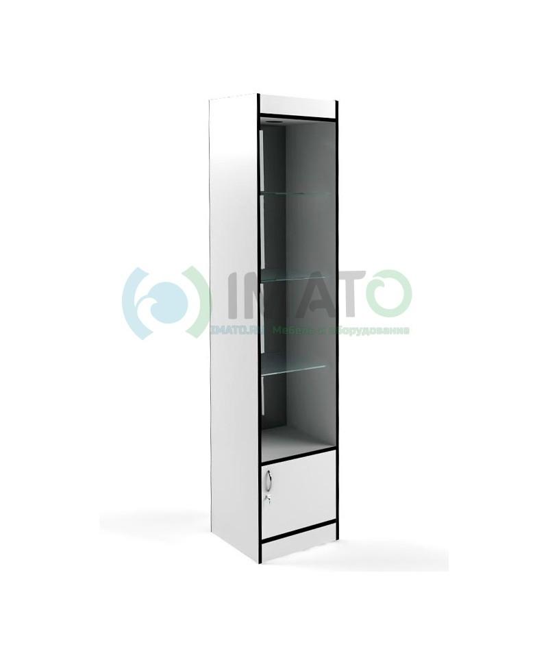 В-162-45-З Витрина открытая, с накопителем, дверьми ДСП, задняя стенка зеркало