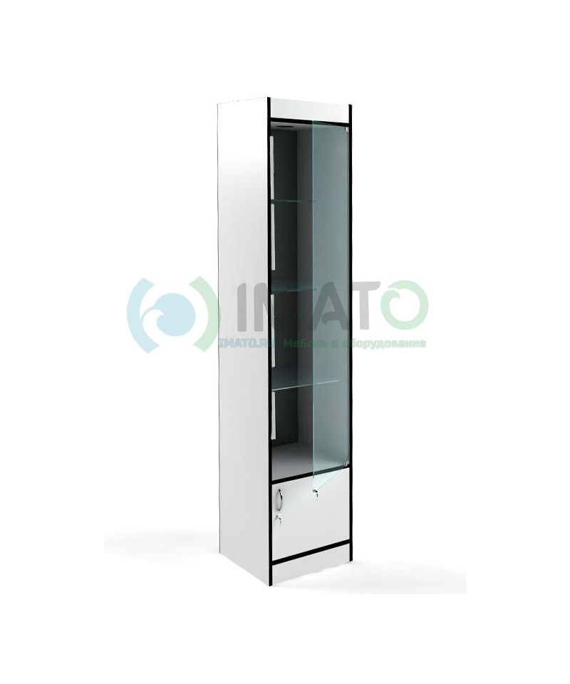 В-164-45-З Узкая стеклянная витрина, с накопителем, задняя стенка зеркало