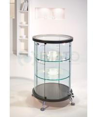 Круглая шпонированная стеклянная витрина низкая со стеклянной столешницей As64.022vp